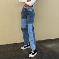 High Waist Patchwork Jeans - blue / M / United States