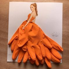 Rubber couture Dress made out of household gloves