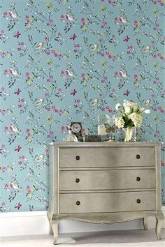 Buy Teal Birds Wallpaper from the Next UK online shop