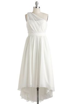 Beautiful and Unique Snowflake Dress - Long, White, Solid, Ruching, Formal, Wedding, Cocktail, A-line, High-Low Hem, One Shoulder, Vintage Inspired, Luxe