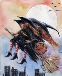 Art Print: City Witches Halloween by sylvia pimental : Vintage Witch, Vintage Halloween, Fall Halloween, Happy Halloween, Halloween Witches, Halloween Trees, Halloween Decorations, Illustrations, Illustration Art