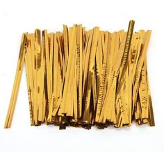 100 Pcs Gold Metallic Twist Ties for Cello Candy Bags Party 8cm ED