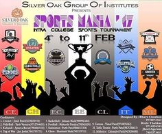 Sports Mania'17 - Get ready to experience biggest intra-college war !  Silver Oak Group of Institutes is going to organize inter-departmental sports week from 4th to 11th February2017  #SilverOak #Ahmedabad #Engineering #Technology #Sports #Cricket #Football #Volleyball