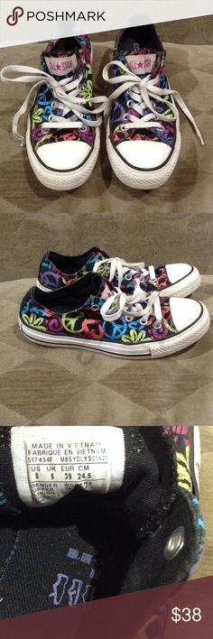 Converse All Star Flower Power Great pair of sneakers I call flower power with peace signs and flowers. Black purple blue pink. In great condition Converse Shoes Sneakers