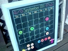 Magnetic Chalkboard Calendar -- Make your Own! ~ * THE COUNTRY CHIC COTTAGE (DIY, Home Decor, Crafts, Farmhouse)