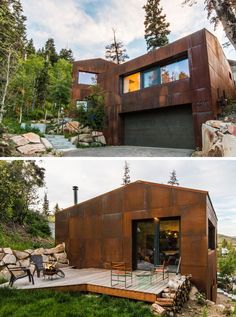 Up in the trees, this home covered in weathering steel has a modern, rustic look to it that contrasts the natural landscape around it.