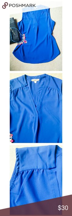 """*Pleione Royal Blue Blouse* *Excellent Condition. Beautiful color paired with Pilcro gray pants (see listing). Size M/L, very flowy. Length: 29"""". Pit-to-Pit: 20"""". 100% Polyester. Ask any questions. Happy Poshing!!* Pleione Tops Blouses"""