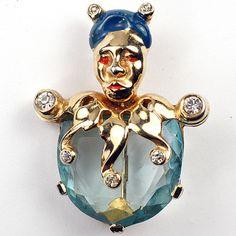Mazer Gold Aquamarine and Enamel Jester Pin