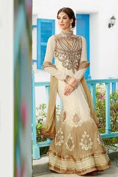 Cream Faux Georgette Party Wear Anarkali Suit with Embroidered and Lace Work