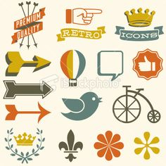 Retro Icons Royalty Free Stock Vector Art Illustration