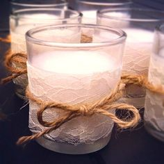 Use lace for a tablecloth around a plain candle votive. #ValentinesDay