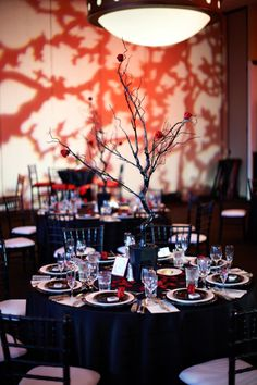 Alice in Wonderland-themed wedding. Pattern projection & color wash make this reception enchanting.