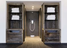 Reclaimed wood sunbaked grey | ELEMENTs / Naturholzplatten | Hotel Graseck Germany | Admonter Toilet Paper, Entryway, Wood, Furniture, Home Decor, Germany, Natural Wood, Flooring, Gray