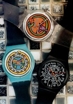 I Keith Haring & I Swatch! The and Swatch that Keith Haring did for Swatch in the mid Cool Watches, Unique Watches, Vintage Watches, 90s Culture, Keith Haring Art, Vintage Swatch Watch, Dumpster Diving, Ol Days, Childhood Toys