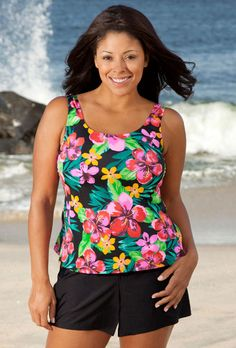 Beach Belle Montego Bay Plus Size Tank Shortini