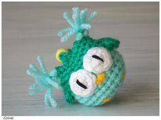 Green Mint Owl Crochet Keychain Owl Accessories Amigurumi Keyring-Kids gift-Children gifts-Tiny Owl Charm-Owl Pendant-Eule Schlüsselanhänger