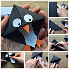 Easy Penguin Bookmark Corner – a great introduction to origami for kids. These penguins are easy to make and are a lovely little gift for book lovers - Easy Penguin Bookmark Corner - Red Ted Art - Make crafting with kids easy & fun Bookmark Craft, Origami Bookmark, Origami Art, Kids Origami, Origami Boxes, Origami Ideas, Oragami, Origami Flowers, Diy Marque Page