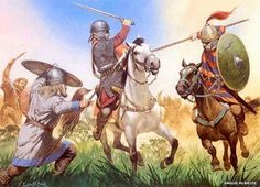 Visigoth (mounted, left) vs. Ostrogth (mounted, right) - Battle of the Catalunian Fields - 451 AD