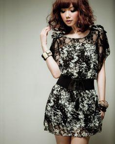 osell wholesale dropship Fashion Women Short Sleeve Print Lace Chiffon Dress $5.14