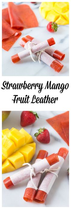 Strawberry Mango Fruit Leather from Well Plated by Erin. Perfect back to school snack and lunch box idea!