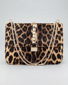 cba4e503e3f Valentino Leopard Calf Hair Lock Bag in Animal (leopard) - Lyst