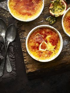 May 2019 - This tropical passion fruit and coconut twist on a classic crème brûlée is an easy but impressive dessert idea Just Desserts, Delicious Desserts, Dessert Recipes, Yummy Food, Creme, Passionfruit Recipes, Brulee Recipe, Impressive Desserts, Puddings