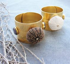 Sea Urchin Collection - Bride and Groom Napkin Ring Holders Set