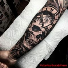 Skull Tattoos: Life and Death Stamped on Your Skin! Hand Tattoos, Skull Rose Tattoos, Skull Sleeve Tattoos, Forarm Tattoos, Best Sleeve Tattoos, Tattoo Sleeve Designs, Body Art Tattoos, Wrist Tattoo, Harley Tattoos