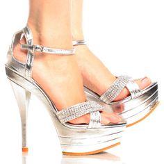 Silver Rhinestone Metallic Women Stiletto High Heel Platform Shoes