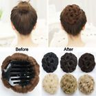 Curly Messy Bun Combs Chignon Scrunchie Updo Cover Hair Extensions as human Curly Hair Pieces, Clip In Hair Pieces, Bun Hair Piece, Real Human Hair Extensions, Synthetic Hair Extensions, Extensions Hair, Messy Bun Updo, Synthetic Curly Hair, Curly Bun Hairstyles