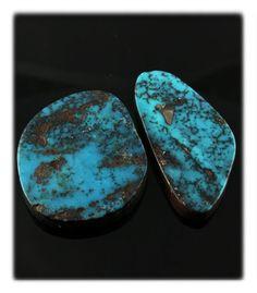 Deep Blue Pilot Mountain Turquoise Cabs hand cut by John Hartman of Durango Silver Company.