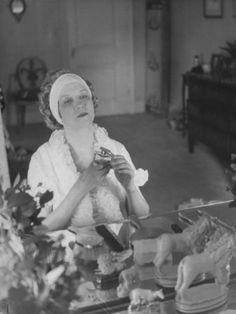 Elizabeth Arden at her dressing table