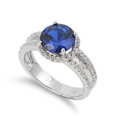925 Sterling Silver CZ Pave Embraced Round Simulated Sapphire Ring 11MM