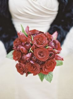 All-red rose winter bridesmaid bouquet idea - chic, classic and elegant! {Jordan Brian Photography}