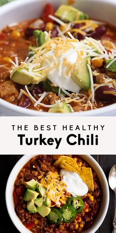 Healthy turkey chili made with lean ground turkey, kidney beans and corn. This version is simply the BEST! Can be made on the stovetop or in your slow cooker. dinner ground turkey The Best Healthy Turkey Chili