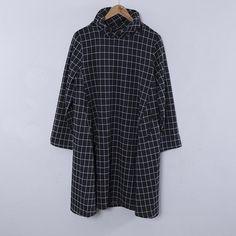 Women Autumn Cotton Casual High Collar Lattice Black Dress - Buykud