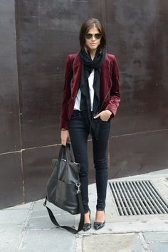 black skinnies and a tee spiced with a velvet blazer. flats or pumps are perfect with this!