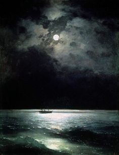 mortem-et-necromantia:  The Black Sea at night, Ivan Aivazovsky, oil on canvas, 1879.