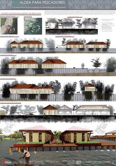 Fachadas y cortes arquitectonicos Planta de pescado Ecoaldea para pescadores Bazan Nariño