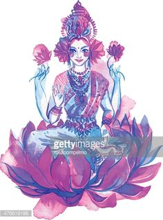 watercolor drawing of Lakshmi, a hindu goddess of wealth, love, and prosperity. Beautiful oriental woman sitting inside of a lotus flower, with four hands.vector illustration with many ornaments. Watercolor Drawing, Abstract Watercolor, Watercolor Illustration, Goddess Art, Goddess Lakshmi, Tattoo Project, Gods And Goddesses, Free Illustrations, Indian Art