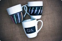 DIY Craft - chalkboard mugs. Perfect for party guests!