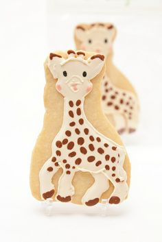 Pin for Later: 21 of the Cutest Baby Shower Cookies Ever! Sophie the Giraffe Cookie Sweet Kiera's Sophie the Giraffe cookie pays homage to a staple gift at most baby showers. Giraffe Cookies, Baby Cookies, Baby Shower Cookies, Cute Cookies, Royal Icing Cookies, Cupcake Cookies, Sugar Cookies, Birthday Cookies, Cookie Icing