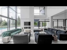 A purist-modern house has been created, retaining a welcoming character despite its spaciousness, different areas with elaborate access routes contribute to . Interior Concept, Interior Design, Cosy Sofa, Bespoke, Villa, House Design, Interiors, Modern, Projects