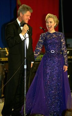 President Clinton and his wife Hillary share a laugh at the Youth Ball ...Ironic when you later find out how much she hates children.