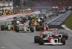 Alain Prost of France drives the #2 Honda Marlboro McLaren McLaren MP4/5 Honda V10 ahead of his team mate Ayrton Senna on the 2nd restart of the San Marino Grand Prix on 23rd April 1989 at the Autodromo Enzo e Dino Ferrari in Imola, San Marino.