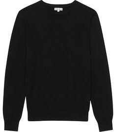 97748edc7 Donnie Black Pure Cotton Crew-neck Jumper - REISS Reiss
