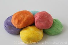 Homemade No Cook Play-Doh Recipe-have kids make their own in class to take home and play with