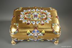 Late nineteenth century casket in gilt bronze and polychrome enamel