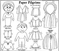 Make paper dolls - Mostly Paper Dolls: PAPER PILGRIMS to Cut Out and Color! 1988