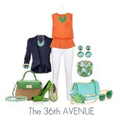 Orange, navy, aqua and green.